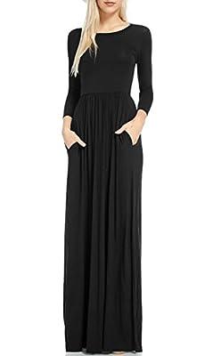 OFEEFAN Women's Long Sleeve Pockets Pleated Loose Swing Casual Maxi Dress