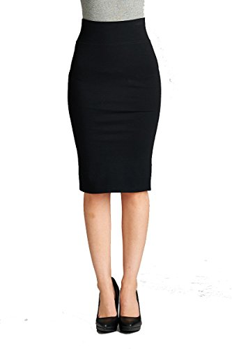 YourStyle Stretch Bodycon Ponte Pencil Skirt (Large, 2180-Black)