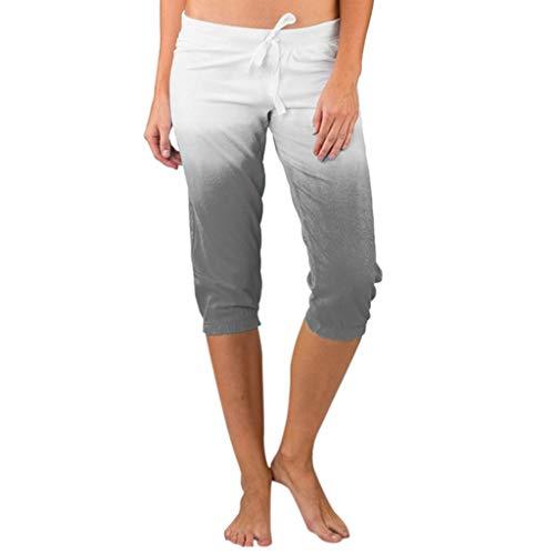 Women Chino Pants, JOYFEEL Ladies Plus Size Gradient Printed Skinny Pants Casual Elastic Drawstring Workout Yoga Pants Gray
