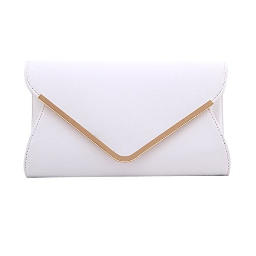 Large Evening Leather UNYU Bag Envelope Clutch Womens White Handbag Prom Ladies Wedding Shoulder 6HHwxp8