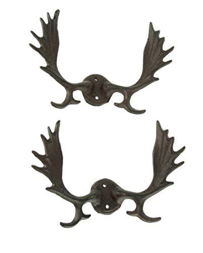 (Things2Die4 Rustic Brown Cast Iron Moose Antlers Wall Hook Set of 2)