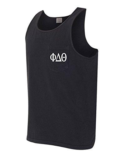 (Print Bar AZ Phi Delta Theta Fraternity Comfort Colors Pocket Tank Top (Small, Black))