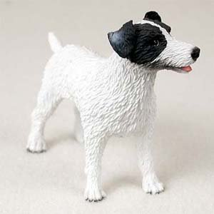 Jack Russell Rough - Jack Russell Rough Coat Black White Dog Figurine