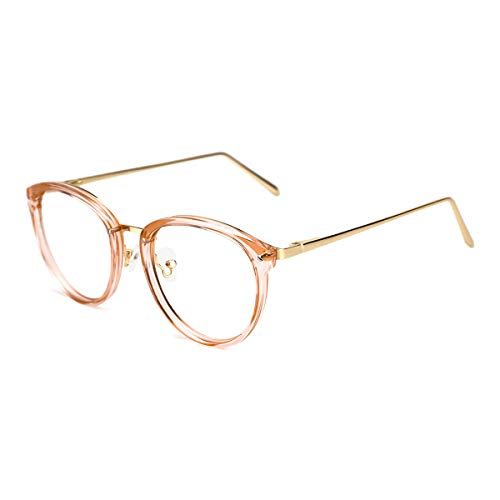 TIJN Vintage Round Metal Optical Eyewear Non-prescription Eyeglasses Frame for Women ((Non Blue Light Block) Clear Tawny, 52) - Eyeglasses Brown Metallic Frame