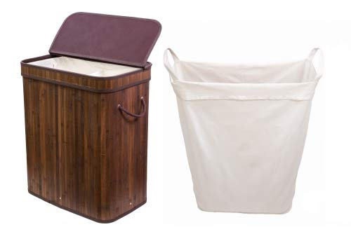 Adorn Home Single/Double Bamboo Laundry Hamper with Attached Hinged Lid  Single and Double Cloth Liners   Handle on Basket and Liner   Collapsible   Espresso Bamboo