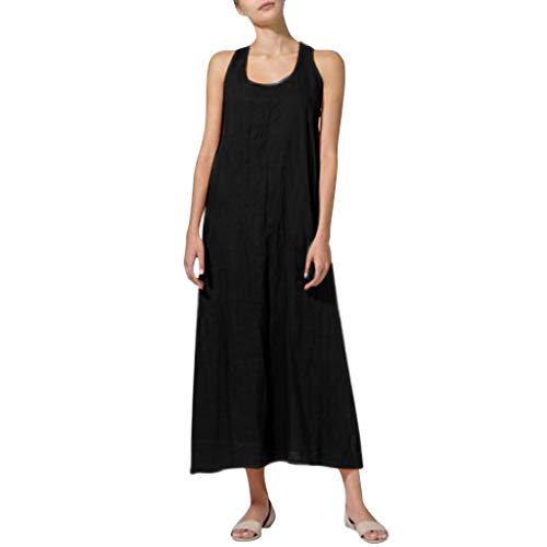 Yucode Women Cotton Linen Solid O-Neck Sleeveless Long Cami Maxi Dresses Casual Summer Dresses Black