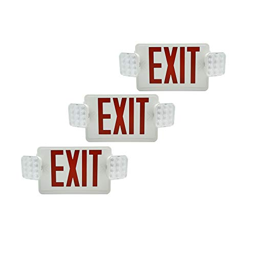 HYD-PARTS 6 Packs Emergency EXIT Sign LED Light Fixture Two Heads Fire Safety Lights Plus Back Up Battery Pack, Commercial, Fire Resistant, US Standard Red Letter - UL Listed (Red) by HYD-Parts (Image #3)