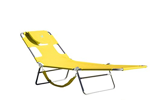Patented open face cavity with horseshoe cushion arm slots pillow and adjustable chair back allows for comfortable tanning or reading while on back or stomach three positions allow one to recline or lay flat lightweight and portable.