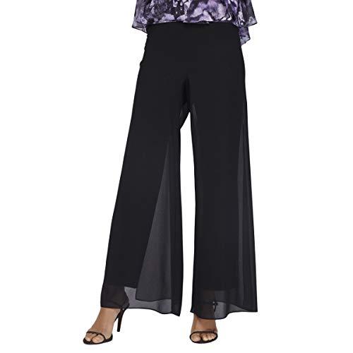 Alex Evenings Women's Straight Leg Dress Pants (Petite Regular), Black Georgette Overlay, LP ()