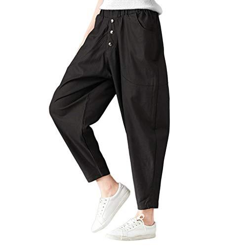Elastic Loose Trousers Women Fashion Warm Cotton Linen Pockets Harem Pants ()