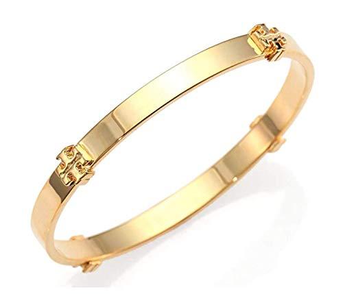 Tory Burch Logo Bangle Bracelet Gold, 2 1/2