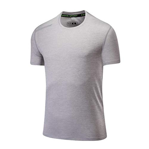 Jumaocio T-Shirt Mens Compression Shirts Short Sleeve Compression Quick Dry Workout Shirts Summer Casual O-Neck T-Shirt Fitness Sport Fast-Dry Breathable Top Blouse Gray
