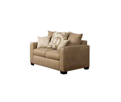 Sand Loveseat (Furniture of America Fairfax Modern Love Seat with Accent Pillows, Sand)
