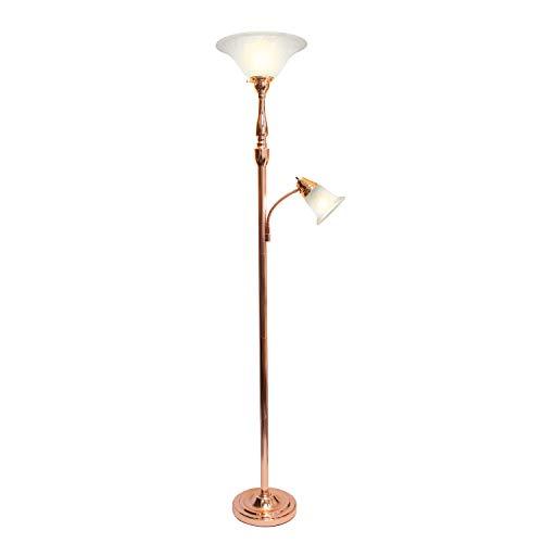 Elegant Designs LF2003-RGD 2 Light Mother Daughter White Marble Glass Floor Lamp, Rose Gold
