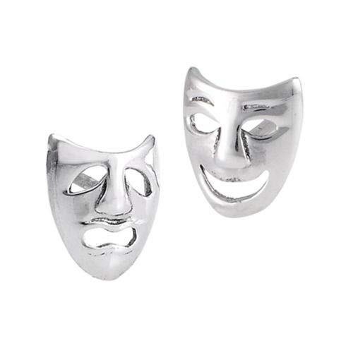 (Happy Comedy Tragedy Cutout Faces .925 Sterling Silver Sad Mask Stud Earrings)