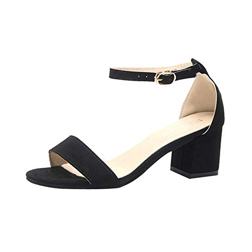 (ONLY TOP - Women's Strappy Chunky Block Low Heel - Formal, Wedding, Party Simple Classic Pump Black)