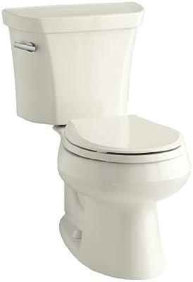 Kohler K-3997-96 Wellworth Round-Front 1.28 gpf Toilet, Biscuit