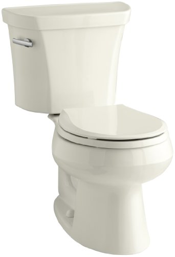 Biscuit Vitreous China Toilet - Kohler K-3997-96 Wellworth Round-Front 1.28 gpf Toilet, Biscuit