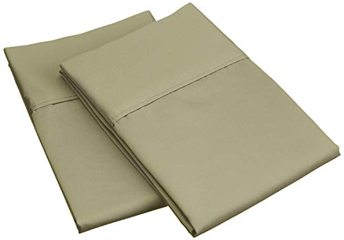 Luxurious Collections 400 Thread Count Super Soft 2 Pcs Pillow Cases Egyptian Quality Cotton Solid/Plain (Standard - 20 by 26 Inch (50 by 66 cm), Sage)