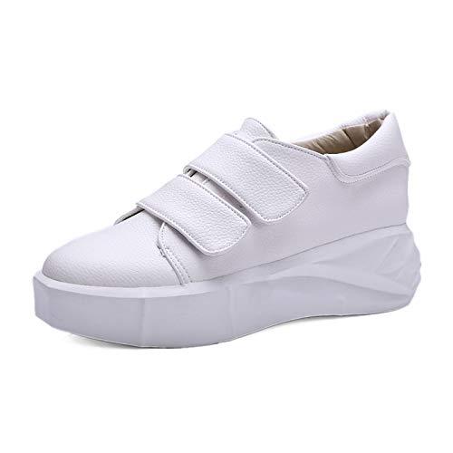 amp; Mujer Punta de Spring ZHZNVX Summer tacón de Zapatos Plano Redonda White Piel sintética Negro Rosa Sneakers Marcha Comfort Zapatos de Blanco de fEnq460Tq