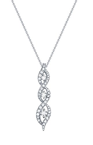 0.42Ct G-H/SI1 Round Natural Diamond Journey Pendant With 17 Inches Chain, 14k White Gold