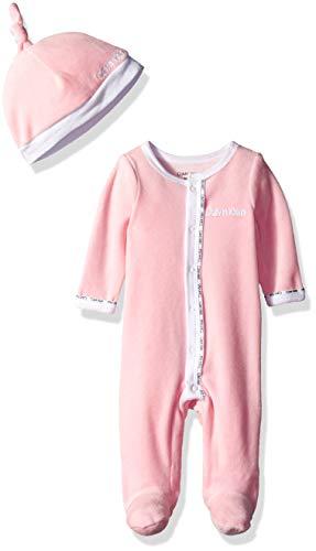 (Calvin Klein Boys Baby Girls' Infant Gift Set, 2 Piece Velour-White, Pink, 18-24 Months )