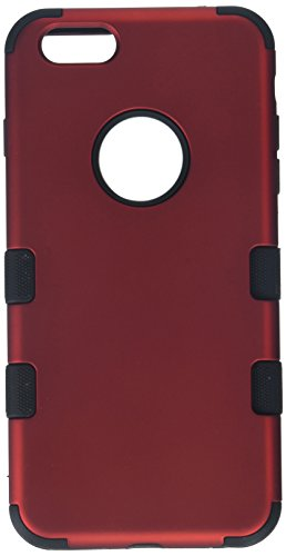 Asmyna Titanium Tuff Hybrid Phone Protector Cover for iPhone 6 Plus - Retail Packaging - Red/Black