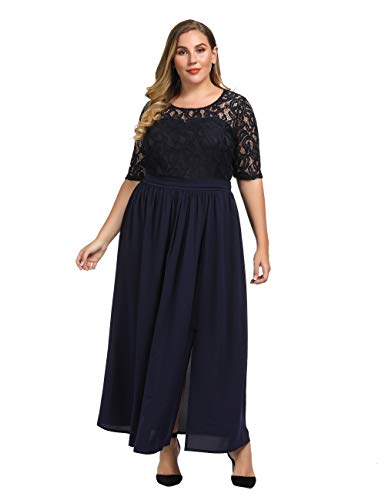 Chicwe Women's Plus Size Guipure Lace Maxi Dress – Wedding Party Cocktail Dress with Flared Skirt Floor Length Limelight Navy 3X