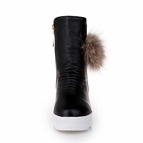 Dames Dames Pom-poms Rits Fashion Warm Winter Platform Verborgen Sleehak Snowboots Zwart