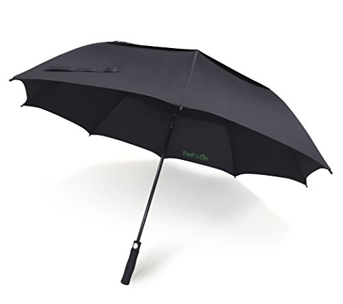 TheFitLife Golf Umbrella 62 Inch Large with Black Double Canopy Windproof and Wind Resistant Durable and Strong Enough for Fierce Wind and Heavy Rain Auto Open Sturdy Heavy Duty and - Galleria Central