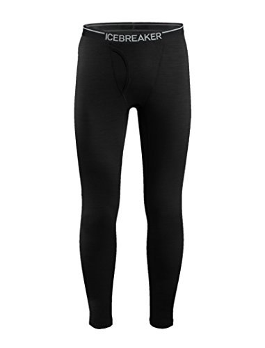 Icebreaker Men's Oasis Leggings with Fly, Black, Medium (Icebreaker Wool Leggings)