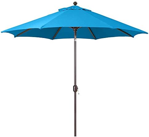 9-Foot Galtech Model 737 Deluxe Auto-Tilt Umbrella with Antique Bronze Frame and Sunbrella Fabric Pacific Blue Includes Extended Frame Warrantee
