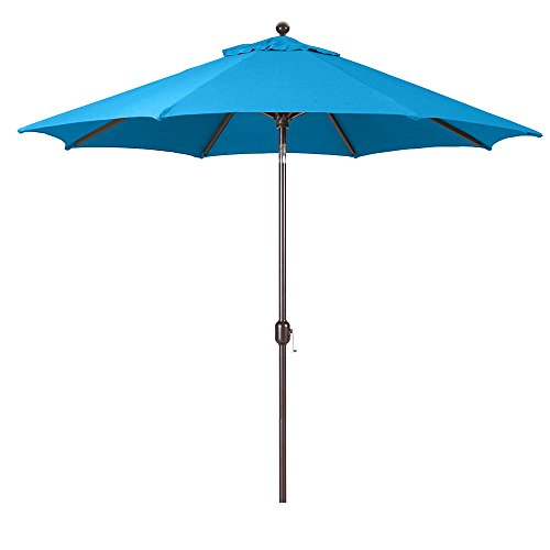 9-Foot Galtech (Model 737) Deluxe Auto-Tilt Umbrella with Antique Bronze Frame and Sunbrella Fabric Pacific Blue (Includes Extended Frame Warrantee) ()