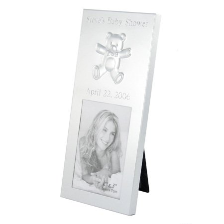 Silver Brushed 2x3 Baby Bear Place Card Frame Personalized Gift (Brushed Silver Frame Place Card)