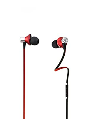 TMUSIC 3.5mm High Performance Stereo Earbuds with Microphone and Universal 3-Button Control For Apple iPhone 6 / 6 Plus / 5 / 5S /5C, HTC One (E8), One (M8), Samsung Galaxy S5 Android Smartphone(Red-Black)