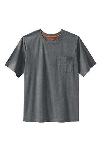 KingSize Men's Big & Tall Heavyweight Crewneck Pocket Tee, Steel (Heavyweight Pocket T-shirt)
