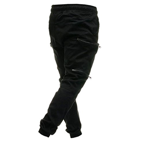 Realdo Men's Solid Casual Pants, Fashion Elastic Waist Drawstring Zipper Pockets Cargo Pants(Black,XX-Large) by Realdo (Image #2)