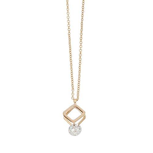 Purple Box Jewelry Howard's Dazzlers - Gold Double Diamond Frame Drop Necklace w/Cubic Zirconia Stone ()