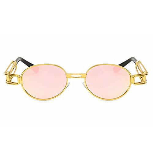 de Lunettes Rétro Dames Cadre TLMY Lunettes Soleil Punk Pink Classiques Soleil Couleur en Rond Silver Soleil De Lunettes De Métal Z5OXwO