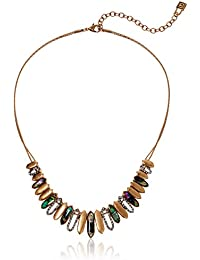 Women's Gold Tone and Abalone Frontal Necklaces
