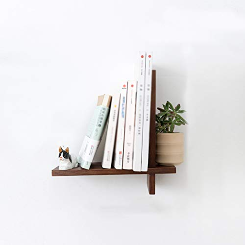 L&T Floating Wall Shelves Solid Wood, V Shape Rustic Floating Shelf Wall Mounted Bookshelf Storage Shelves for Tv Entryway Study-Walnut A