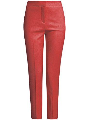 oodji Collection Mujer Pantalones Ajustados con Pinzas Rojo (4500N)