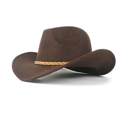 2019 Fashion Women's Winter Wool Felt Cowboy Hat, Sombrero Woven Rope Hat Men, by jdon-hats, (Color : Brown, Size : 56-59cm)
