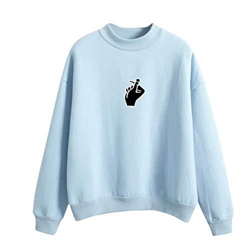 Tops Finger Mujer Blue Giulogre Para Sudadera women Light 1wqPgUH
