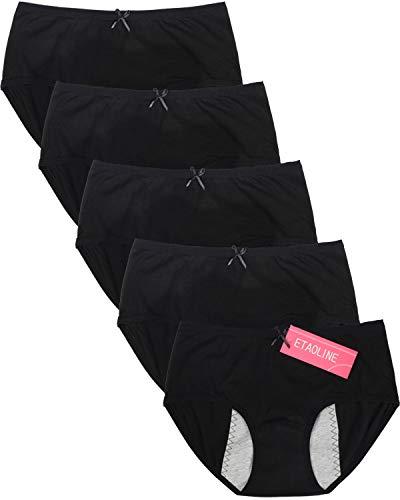 ETAOLINE Womens Period Panties Menstrual Brief Leakproof Maternity Hipster Postpartum Bleeding Underwear, Black, Pack of 5