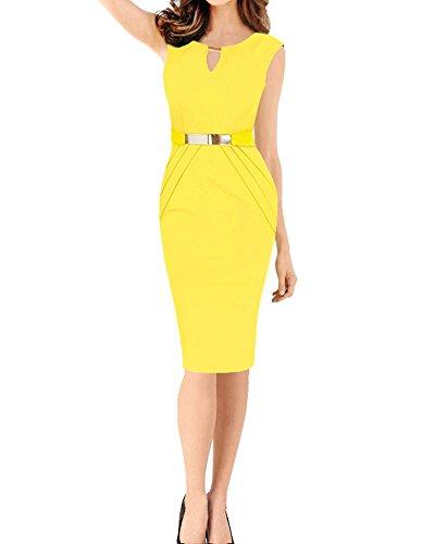 SaiDeng Vestidos Ropa De Mujer Vintage Ajustado Casual Coctel Fiesta Negocios Cortos Bodycon Ropa Vestidos Amarillo