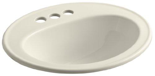 KOHLER K-2196-4-47 Pennington Self-Rimming Bathroom Sink, Almond (Self Rimming Almond)
