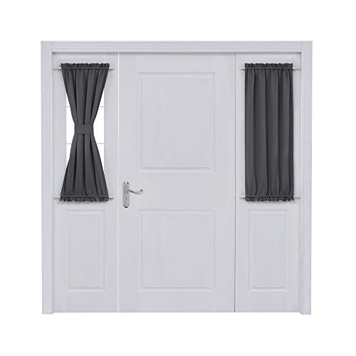Deconovo Door Curtain Panels Dual Rod Pocket Curtain Room Darkening Blacktout Sliding Window Curtain for 25x40 Inch Dark Grey 2 Panels (Door Rod Pocket Curtain Panel)