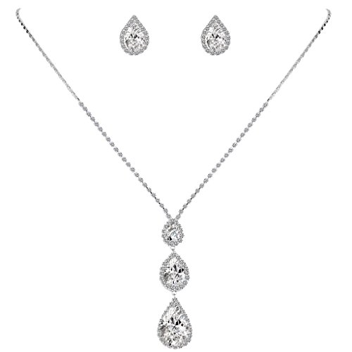 EleQueen Women's CZ Crystal 3 Teardrop Wedding Pendant Necklace Earrings Jewelry Set Silver-tone Clear (Necklace Drop Three)