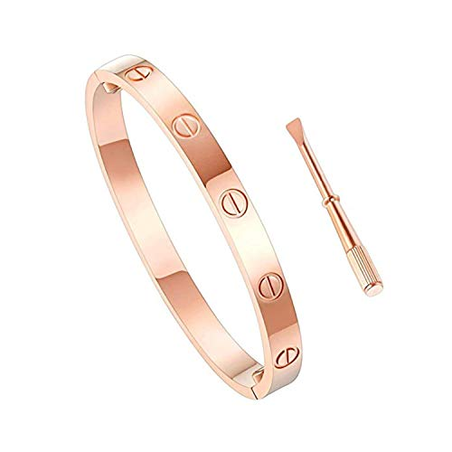 Love Bracelet Stainless Steel Cuff Bangle Titanium Steel Screws Womens Bracelet (Rose Gold, 19)